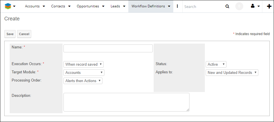 Edit view of workflow definition in SugarCRM