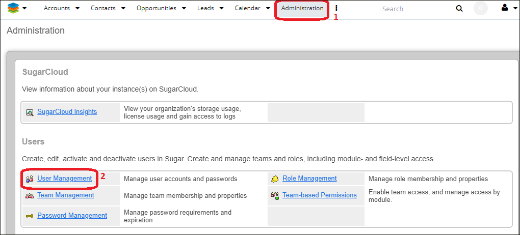 Navigating to user management in SugarCRM