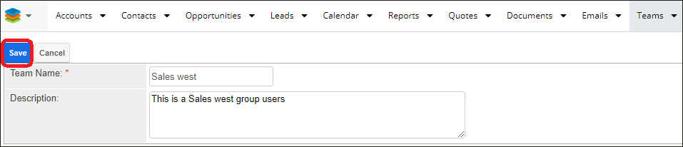 Screenshot of Creating a team record in SugarCRM