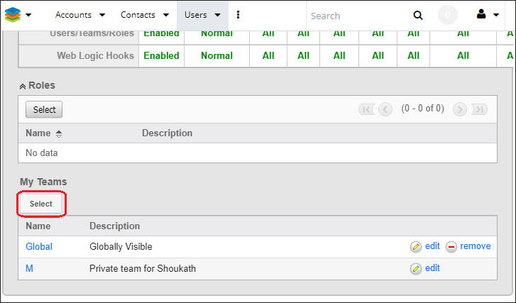 Screenshot of Selecting team record in SugarCRM