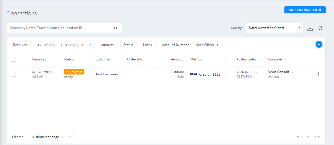 Screenshot of Transaction in progress in SugarCRM