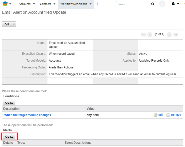 Screenshot of creating alert for workflow in SugarCRM