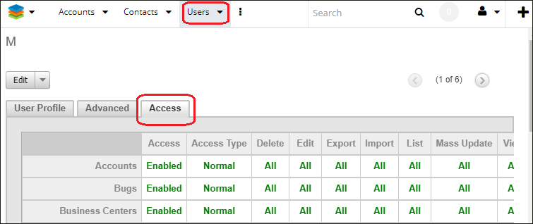 Screenshot of navigating to access tap in SugarCRM