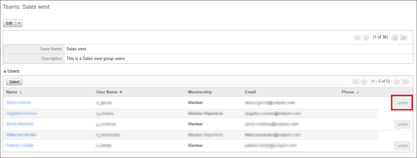 Screenshot of remove team in SugarCRM