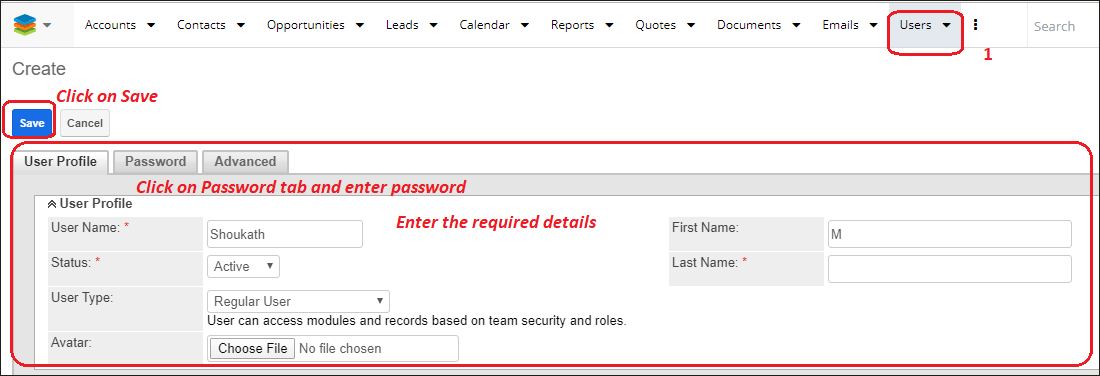 Screenshot of saving user record in SugarCRM