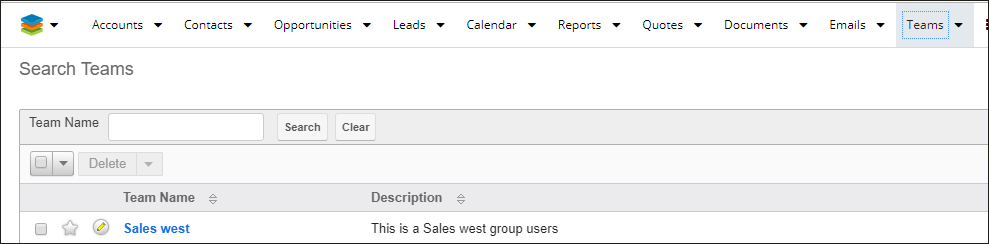 Screenshot of team record view in SugarCRM