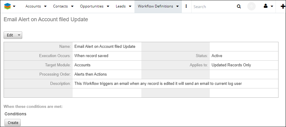 Screenshot of workflow record has been saved