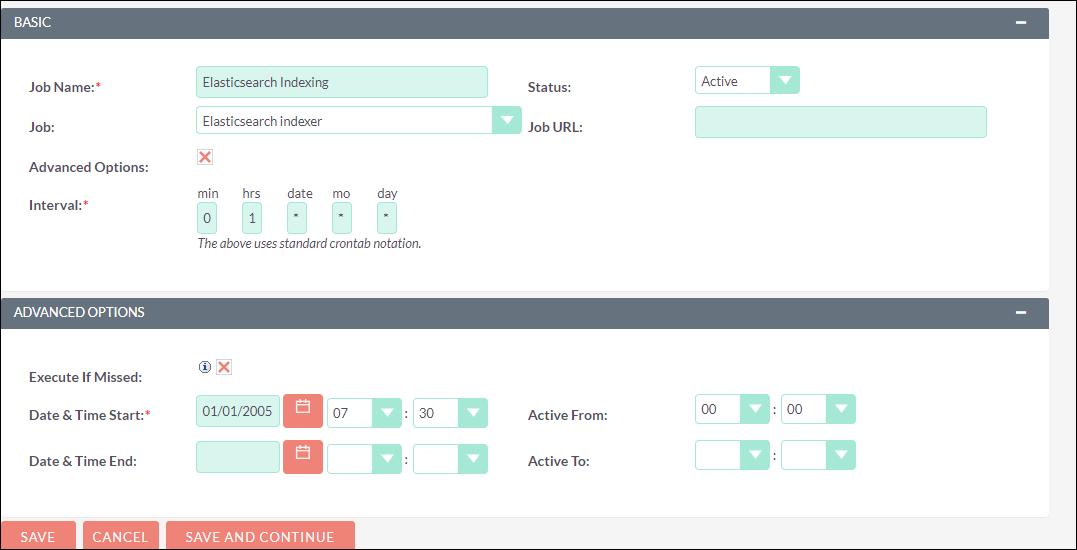 Scheduler Task for Elasticsearch index