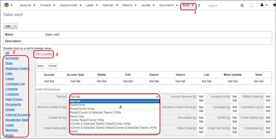Assign Field-Level Permission in SugarCRM