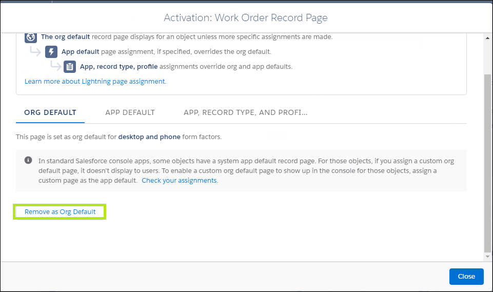 Assign as Org Default in Salesforce
