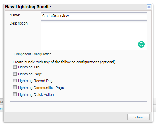 Creating the Lightning component with the name 'CreateOrderview'