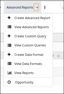Click on the drop-down to create in reports module