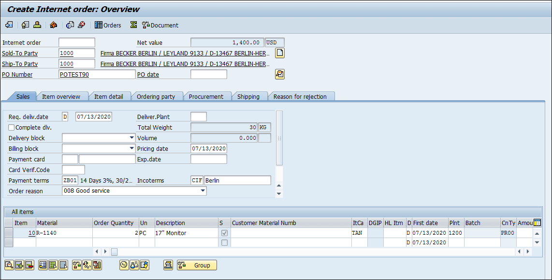 Creating an order in SAP ECC using transaction code