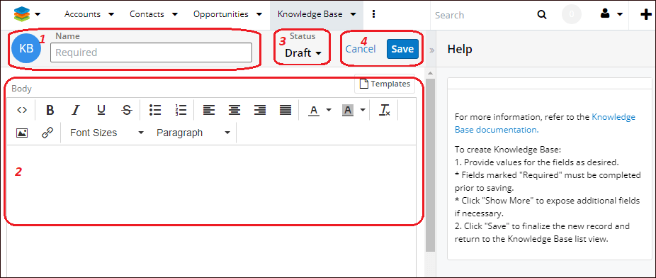 Edit view of knowledge base module