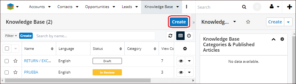 Navigating to record create button in KB module