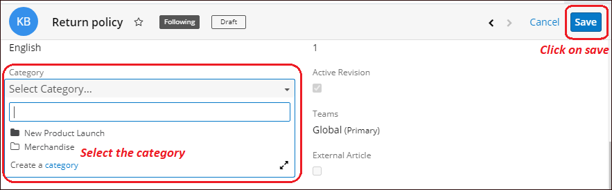 Select category merchandise for article in KB module