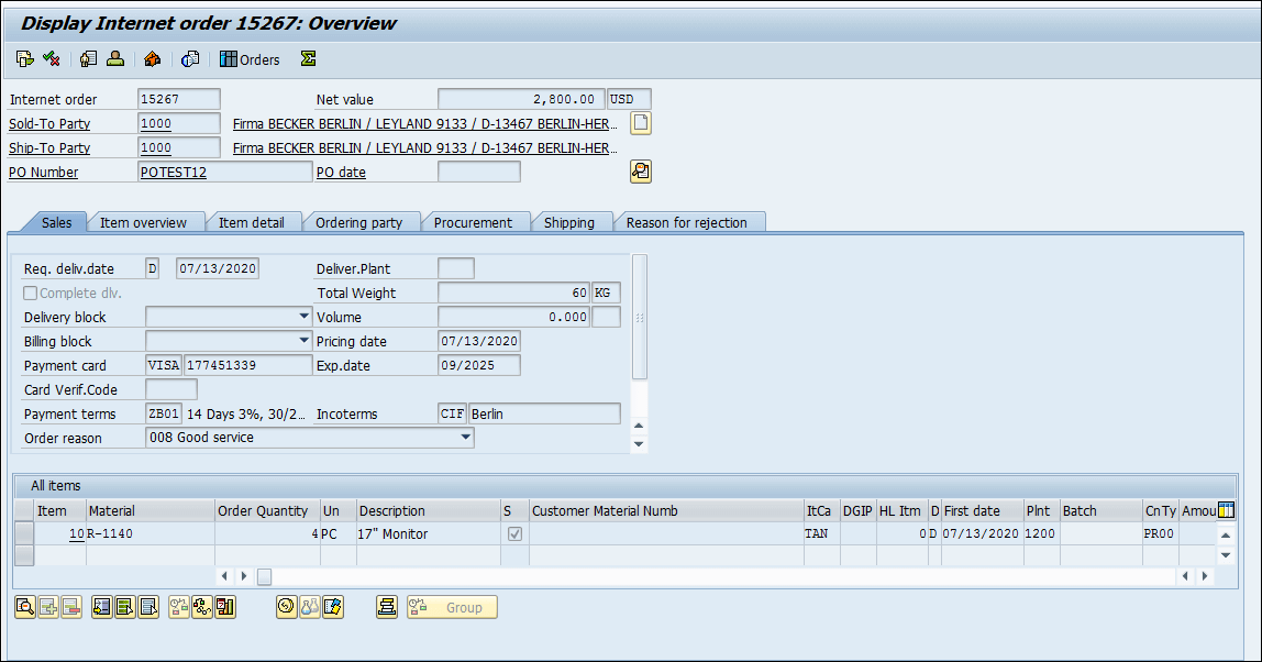 Tokenize the actual credit card number in SAP ECC