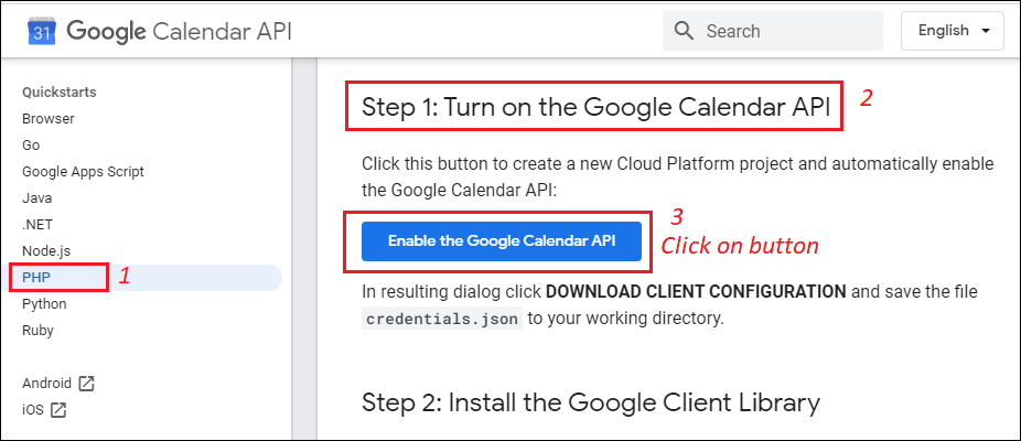 Enable the Google Calendar for API