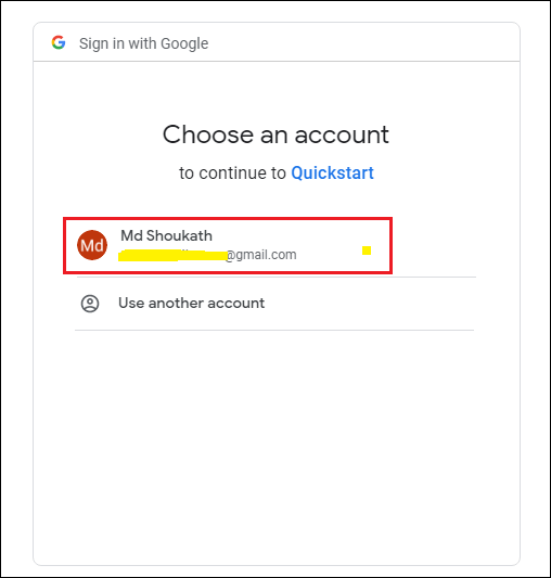 Selecting Google Account for authorization