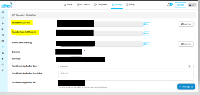 Filling required details in eSign API consumer edit view