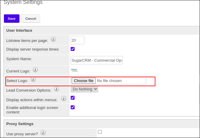 Selecting log in SugarCRM system settings