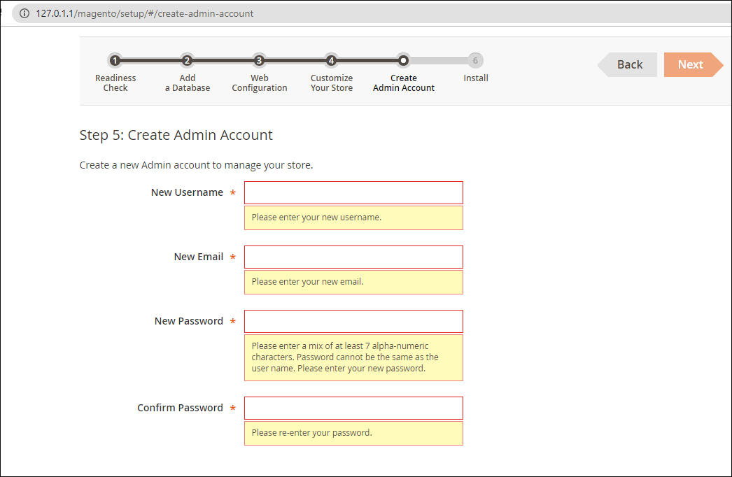 Creating admin user in Magento