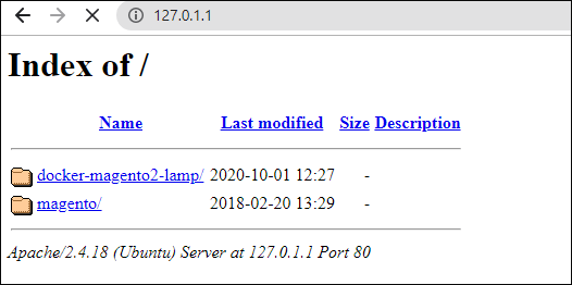 Index page of localhost