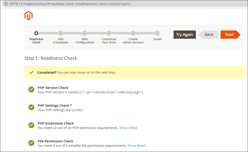 Readiness Check completed in Magento wizard