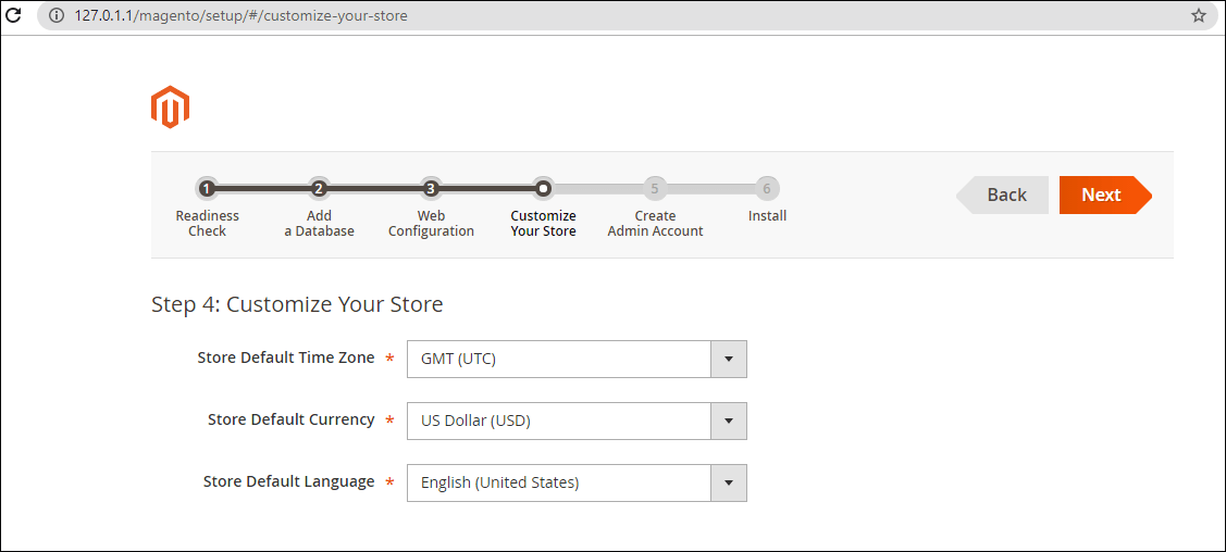 Selecting time zone and currency and language in Magento installation wizard